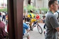 Wolverine on a bike.