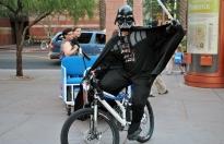 Vader on a bike.