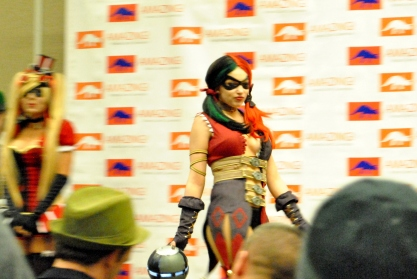 Some sort of joker minion/Harley Quinn thing happening. And also boobies.