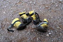 The shoes lasted most of the hike, but better these got beat up than his paws.